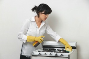 Woman Cleaning Appliances