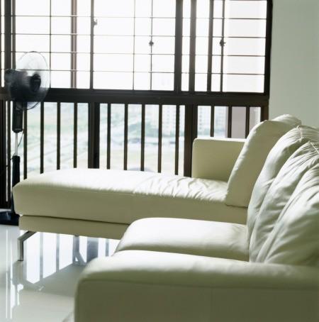 Light colored leather couch.