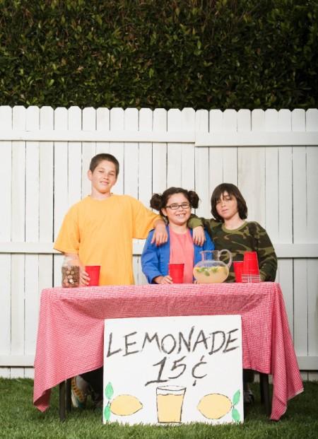 Kids selling lemonade.