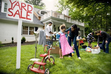 People at a yard sale.