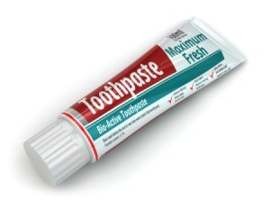 Tube of toothpaste.