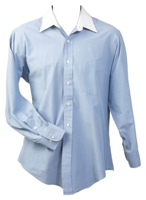 Blue shirt with a white collar.