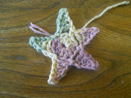 Finished star before weaving in ends.