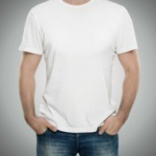 Man wearing a white t-shirt.