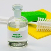 A bottle of white vinegar.