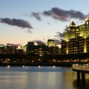 Hoboken New Jersey after sunset.
