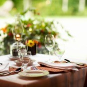 Dining table with a nice tablecloth.