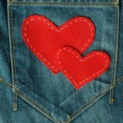 heart patches on jeans