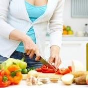 Woman making a recipe.