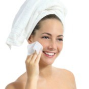 Woman Using Facial Wipe