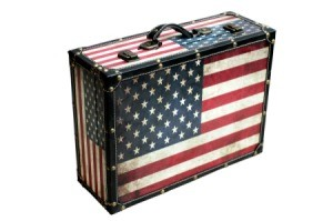 American flag suitcase.