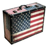 American flag suitcase.