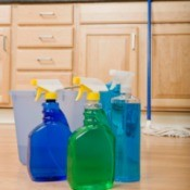 cleaning products on a floor
