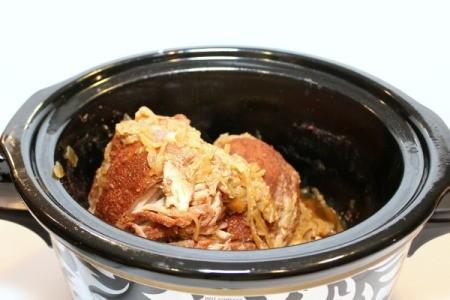 drained pork in crockpot
