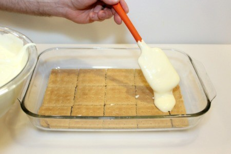 add one half pudding mixture