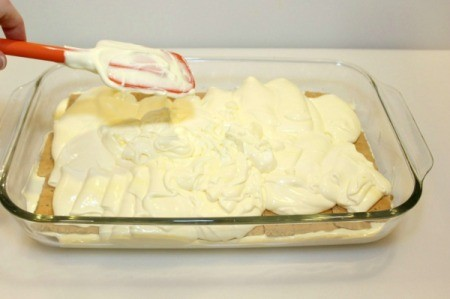 add remaining pudding mixture