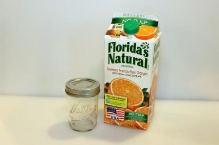 oj carton and mason jar