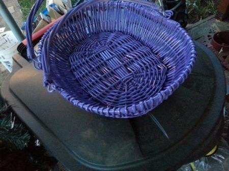 purple basket with folding handle
