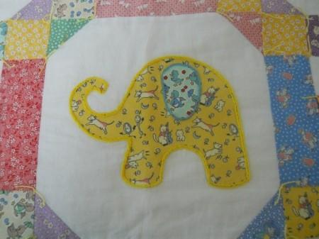 closeup of yellow elephant block