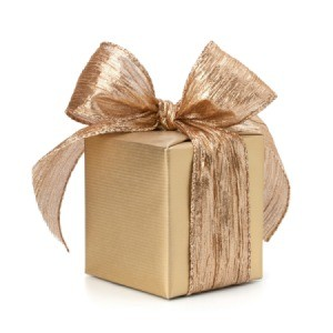 A holiday wrapped gift.