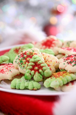 Christmas cookies made with a cookie press.