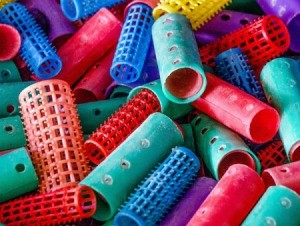 Colorful hair rollers