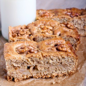 Applesauce bread with chunks of apple.