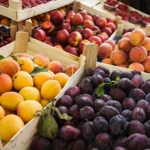 Boxes of fruit at the market.