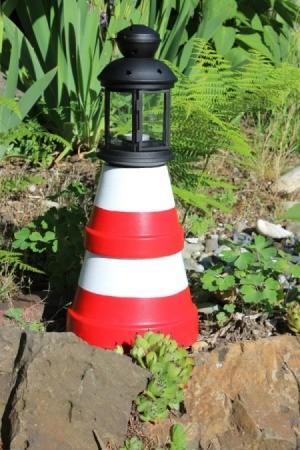 clay pot lighthouse in garden