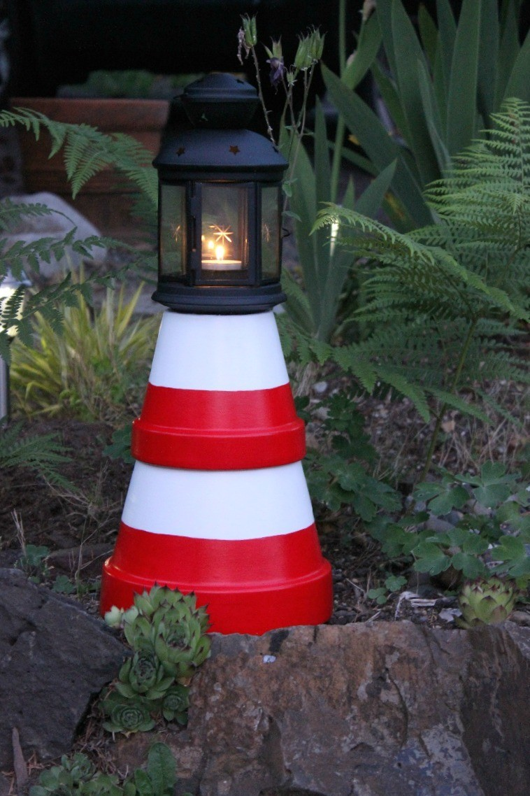 Making a Terra Cotta Lighthouse | ThriftyFun on antique planters, porcelain planters, stacked planters, crochet planters, vintage mccoy planters, pewter planters, furniture planters,