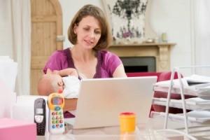 Woman Multi-Tasking at Home