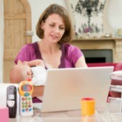 Woman Multi-Tasking at Home