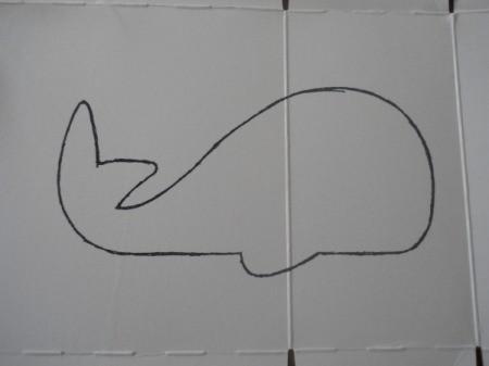 cardboard whale tracing