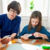 child using glue