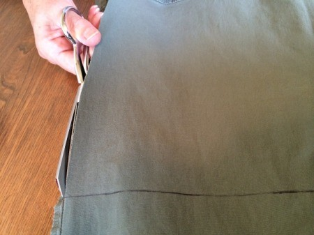 cutting up the leg along the side seam