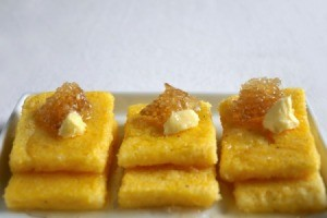 rectangles of fried mush with garnish