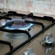 partial view of gas cooktop