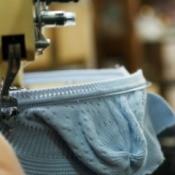machine knitting a hat