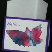 tie dye leaf pattern note card