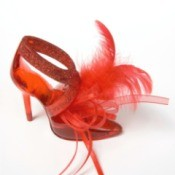 red shoes with feathers