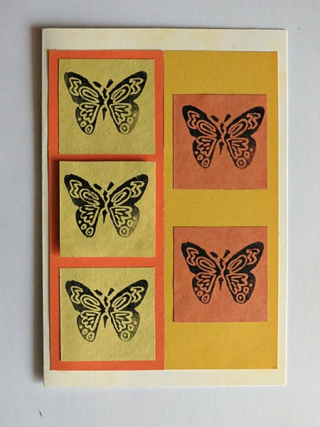 attaching stamped butterfly squares
