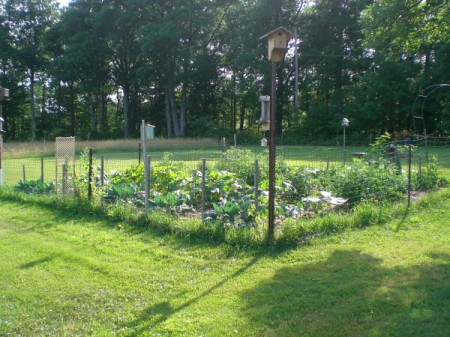 garden plot with decorations