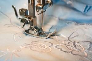 closeup of sewing machine needle