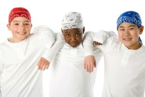 three boys wearing doo rags