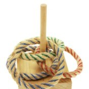 wood and rope ring toss game