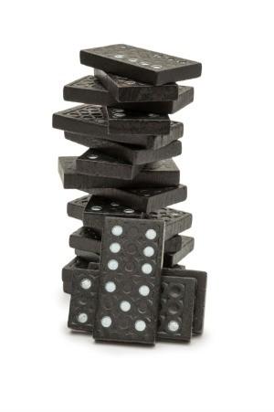 stack of black dominoes