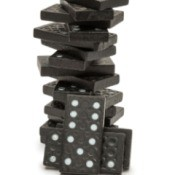 stack of black dominoes