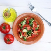 bowl of tomato and cucumber slices