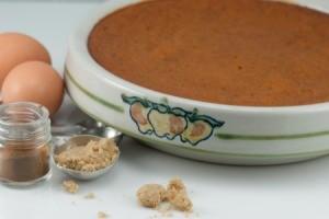 crustless pumpkin pie in baking dish