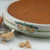 crustless pumpkin pie in baking dish